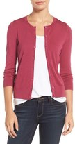 Halogen Three Quarter Sleeve Crewneck Cardigan (Regular & Petite)