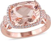 Sofia B 5 1/4 CT TW Morganite and Cubic Zirconia Pink Sterling Silver Halo Ring