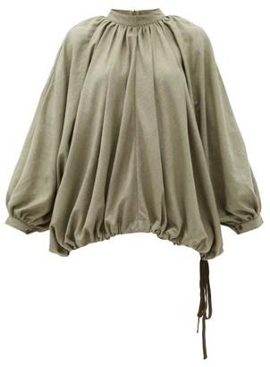 Marrakshi Life - Balloon-sleeve Cotton-blend Top - Dark Green