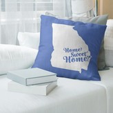 "Home Sweet Throw Pillow East Urban Home Color: Blue, Size: 16"" x 16"", City: Savannah"