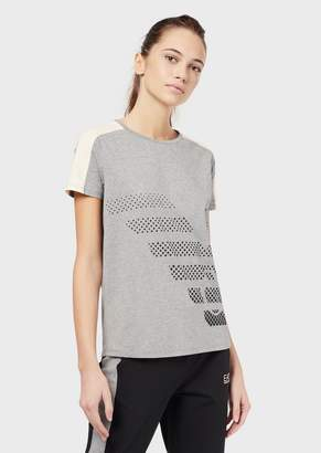 Emporio Armani Ea7 Loose-Fit T-Shirt With Maxi Logo And Bands On The Shoulders