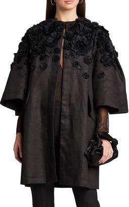 Carolina Herrera Wide Pleat-Sleeve Embroidered Coat