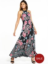 V By Very Petite Petite Placement Print Halter Maxi Dress