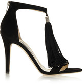Jimmy Choo Viola Crystal-embellished Tasseled Suede Sandals - Black