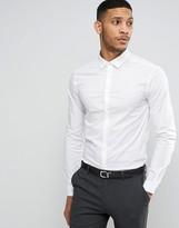 Asos Skinny Shirt In White With Long Sleeve
