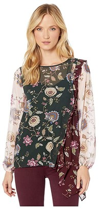 Vince Camuto Long Sleeve Windsor Floral Handkerchief Hem Color Block Blouse (Dark Willow) Women's Clothing