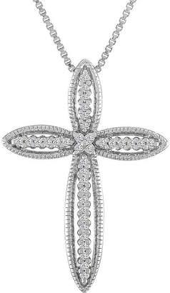 Silver Cross Fine Jewelry Womens 1/10 CT. T.W. Genuine White Diamond Sterling Pendant Necklace