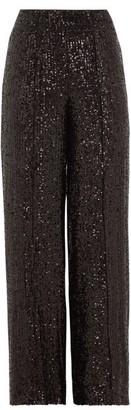 Diane von Furstenberg Rhiannon Wide-leg Sequinned Trousers - Womens - Black