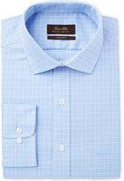 Tasso Elba Men's Classic/Regular Fit Non-Iron Blue Small Glen Check Dress Shirt, Created for Macy's