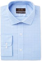 Tasso Elba Men's Classic/Regular Fit Non-Iron Blue Small Glen Check Dress Shirt, Only at Macy's
