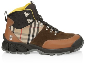 Burberry Mixed-Media Vintage Check Hiking Boots