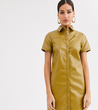 Glamorous Tall shirt dress in soft faux leather-Green