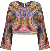 Camilla Cropped Printed Silk-Chiffon Top
