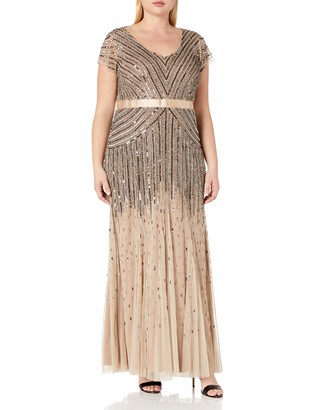Adrianna Papell Women's Plus Size Floor Length Beaded Cap Sleeve V-Neck Dress