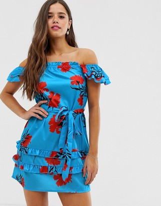 Parisian off shoulder dress with tie waist in bold floral print-Blue