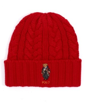 Polo Ralph Lauren Men's Cable-Knit Bear Logo Beanie Hat