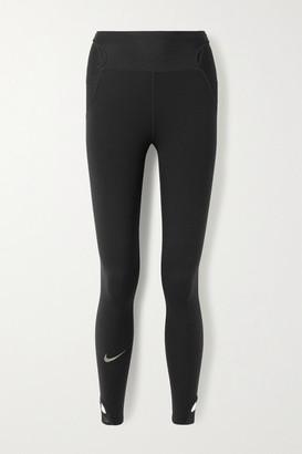 Nike City Ready Cutout Mesh-trimmed Stretch Leggings - Black