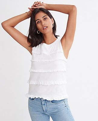 Ann Taylor Tiered Ruffle Shell Top