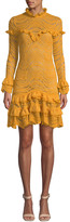 Jonathan Simkhai Mixed Lace Long-Sleeve Chiffon Ruffle Dress