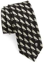 Alexander McQueen Men's Mini Raven Print Silk Tie