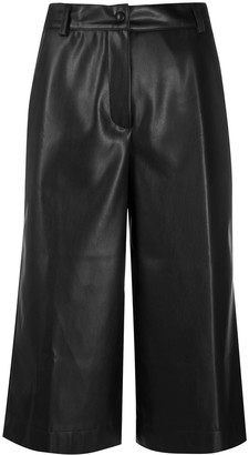 Semi-Couture Cropped Faux-Leather Trousers
