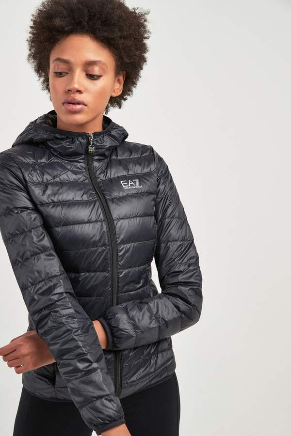 6b502a92c Ea7 Womens Black Packaway Down Padded Hooded Jacket - Black