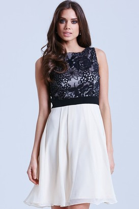 Little Mistress Cream and Black Fit and Flare Floral Dress