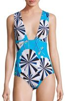 Emilio Pucci One-Piece Parasol Print Swimsuit