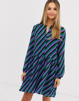 Vila stripe drop waist shirt dress