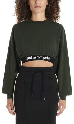 Palm Angels Logo Printed Oversize Cropped T-Shirt