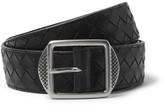 Bottega Veneta 3.5cm Black Intrecciato Leather Belt - Black