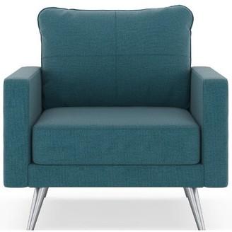 Latitude Run Labonte Armchair Fabric: Aegean Blue Polyester, Leg Color: Chrome