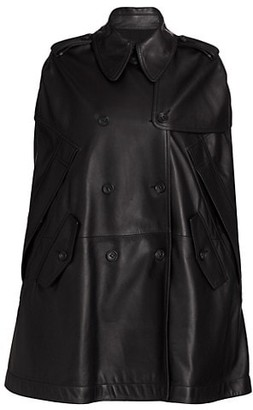Valentino Double-Breasted Leather Cape