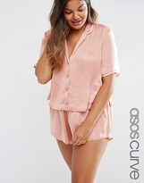 Asos Miley Satin Piped Pajama Top & Short Set