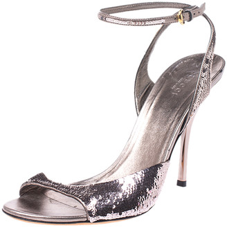 Gucci Metallic Grey Sequins Embellished Ankle Strap Sandals Size 41