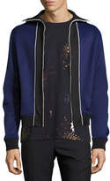 Valentino Blocked Knit Track Jacket, Blue
