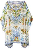 Camilla Rio Embellished Printed Silk Crepe De Chine Kaftan - White