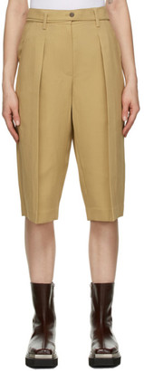 System Beige Belted Pleated Shorts