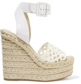 Paloma Barceló Eva Crocheted Leather Wedge Sandals