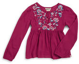 Lucky Brand Girls 7-16 Floral Embroidered Peasant Top