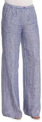 Nic+Zoe Drifty Linen Wide-Leg Pants, Indigo Mix
