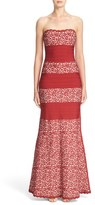 Herve Leger Women's Raised Lace Detail Strapless Bandage Mermaid Gown