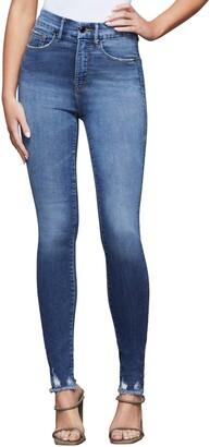 Good American Good Waist Fray Hem Skinny Jeans