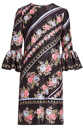 Erdem Elijah Floral Bell Sleeve Shift Dress