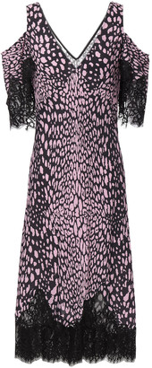 McQ Cold-shoulder Lace-trimmed Leopard-print Crepe De Chine Midi Dress