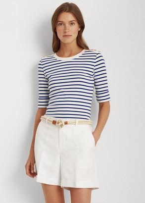 Ralph Lauren Striped Elbow-Sleeve Top