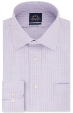 Eagle Men's Slim-Fit Non-Iron Stretch Collar Dusty Lavender Check Dress Shirt
