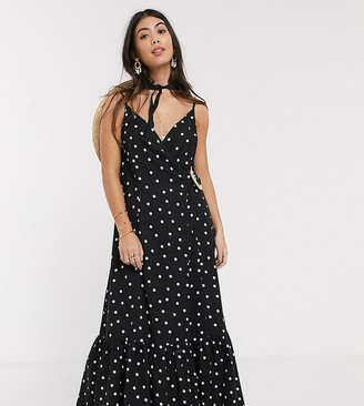 ASOS DESIGN Petite cami wrap maxi dress in linen with wicker belt in mono spot