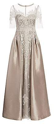 Teri Jon by Rickie Freeman Women's Floral Lace Embroidered Tulle & Satin A-Line Gown