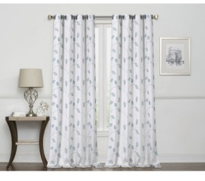 """Regal Home Birch Embroidered Leaf 100% Blackout Grommet Curtain, 63"""" x 50"""""""